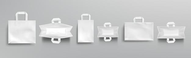 Sacolas de papel superior e maquete de vista frontal