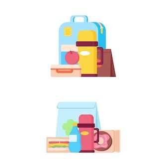 Sacolas e bandejas de merenda escolar com sanduíches, frutas e donut, garrafa térmica