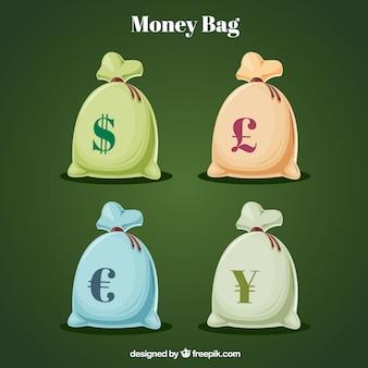 Sacos com símbolo monetário