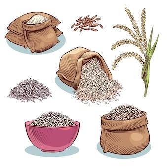 Sacos de arroz. tigela com grãos de arroz e orelhas. comida japonesa, conjunto de desenhos animados de armazenamento de arroz