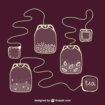Sacos de chá esboçado vector