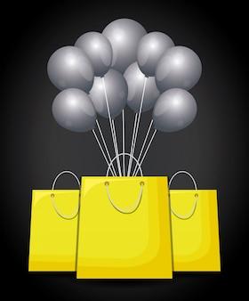 Sacos de compras com balões de ar