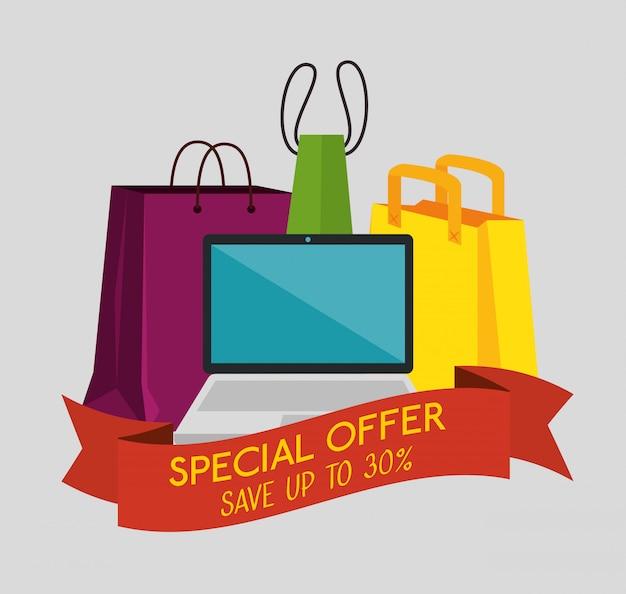 Sacos de compras com laptop para oferta de venda especial