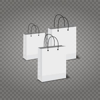 Sacos de compras de papel em fundo transparente