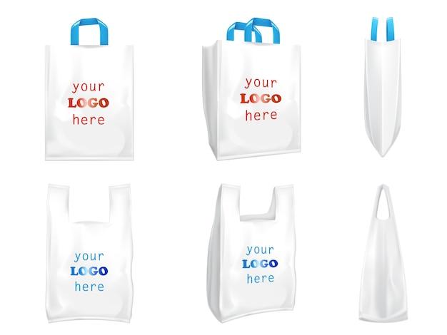 Sacos de compras de plástico com alças azuis