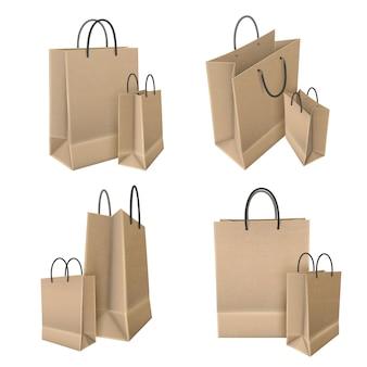 Sacos de compras do conjunto de papel ofício