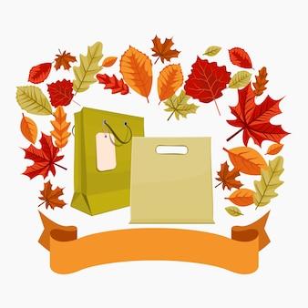 Sacos de compras e fita editáveis do outono
