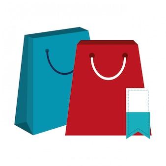 Sacos de compras e tag