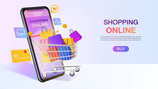 Sacos de compras em um carrinho móvel ou smartphone. modelo de site de compras on-line. conceito de aplicativo de loja móvel. marketing e marketing digital. .