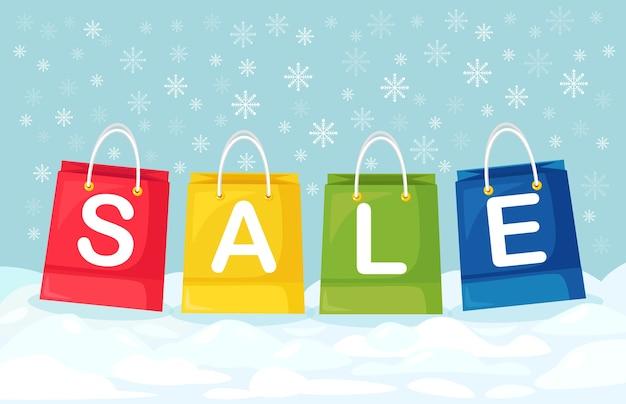 Sacos de compras estão na neve