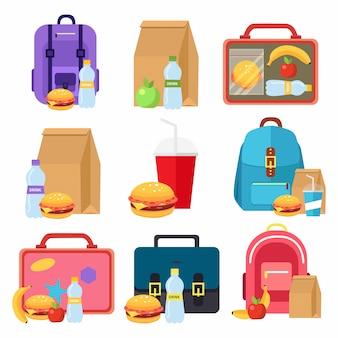 Sacos de crianças e caixas de comida de almoço escolar, ícones lisos coloridos isolados no branco