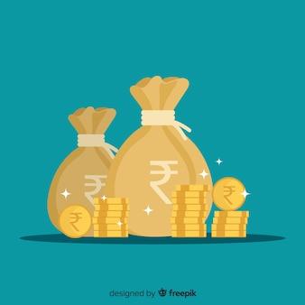 Sacos de dinheiro de rúpia indiana