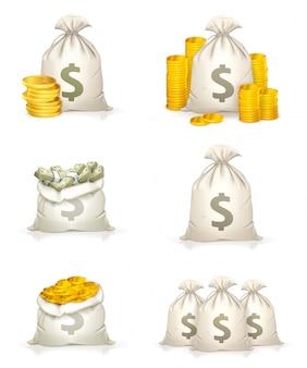 Sacos de dinheiro, fortuna, moedas de ouro, notas, ícones