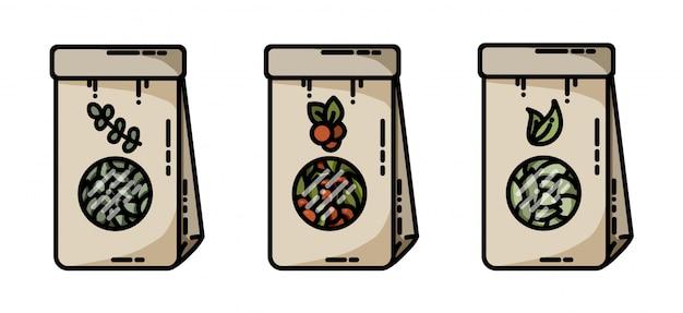 Sacos de ervas de chá de ervas secas vector ícones planas
