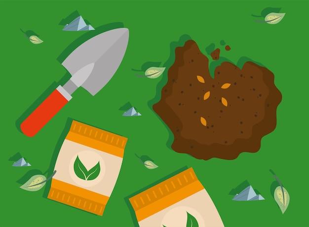 Sacos de fertilizantes e cena de espátula