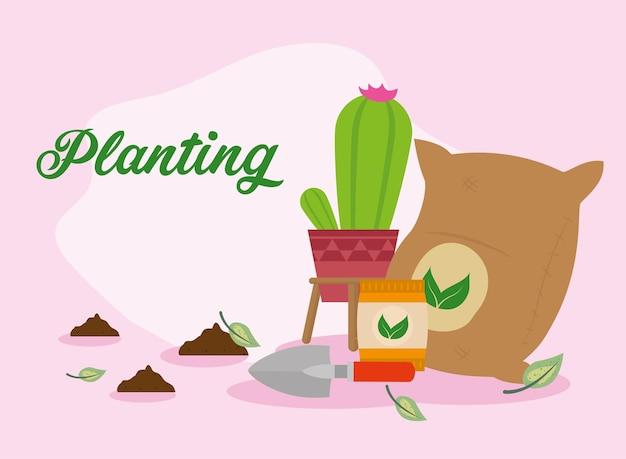 Sacos de fertilizantes e cena de plantio de sacos