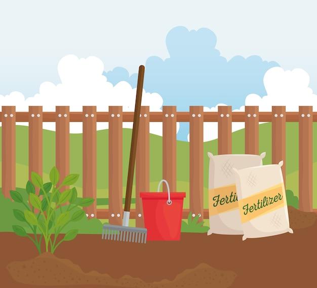 Sacos de fertilizantes para jardinagem, desenho de ancinho e balde, plantio de jardim e natureza