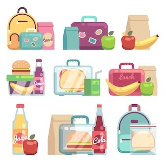 Sacos de lanches escolares. comida saudável em caixas de almoço de crianças definido.