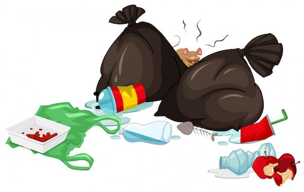 Sacos de lixo sujos e comida podre no chão