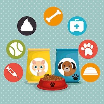 Sacos de mascotes conjunto de alimentos