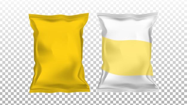Sacos de pacotes de folha em branco de batata chips definir vetor. chips snack embalagem brilhante diferente. tasty fry junk food lunch, gastronomia nutrição produto modelo de porção ilustrações 3d realistas