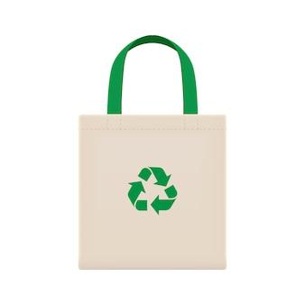 Sacos de pano eco em branco ou sacos de pano de fios de algodão, sacos vazios e símbolo de reciclagem verde