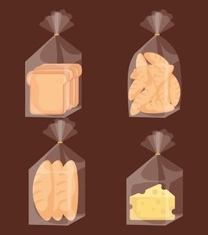 Sacos de pão delicioso e queijo