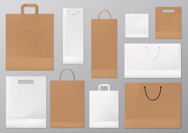 Sacos de papel e presente de compras realistas