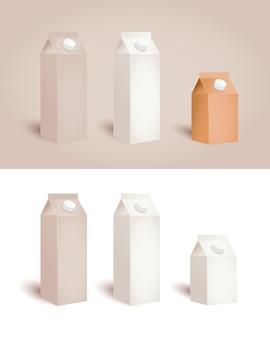 Sacos de papel isolados com tampa para suco de leite Vetor Premium