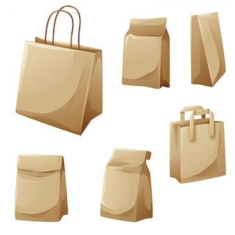 Sacos de papel marrom coleção de design dos desenhos animados
