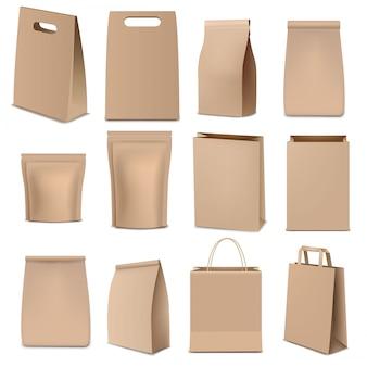 Sacos de papel marrom e grande coleção de embalagens