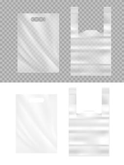 Sacos de plástico realistas 3d. pacotes de polietileno transparente com alça isolada