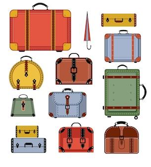 Sacos de viagem em várias cores sobre um fundo branco