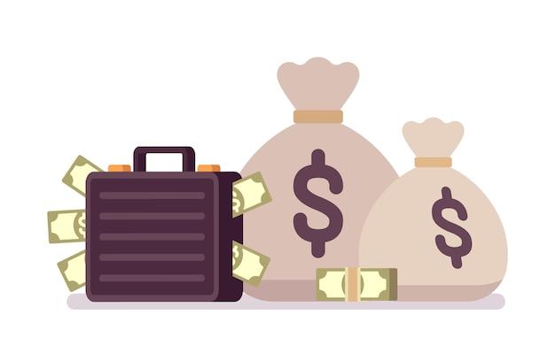 Sacos e maleta cheia de dinheiro