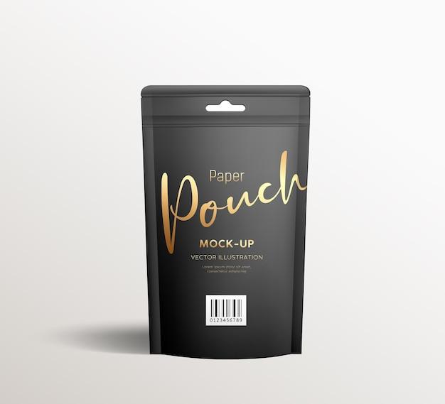 Sacos pretos de papel kraft, simulação de design de modelo de embalagem de vista frontal, em fundo cinza
