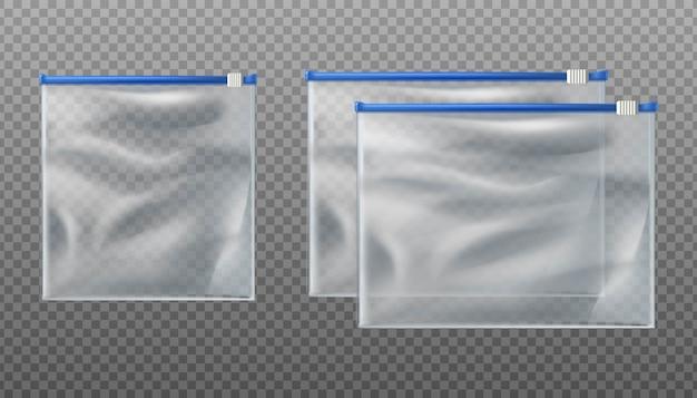 Sacos transparentes com fecho deslizante azul. bolsas vazias em tamanhos diferentes em fundo transparente.