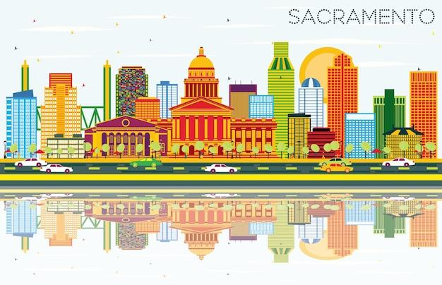 Sacramento eua skyline com edifícios de cor, céu azul e reflexos. ilustração vetorial. viagem de negócios e conceito de turismo com arquitetura moderna.