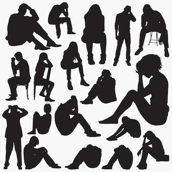 Sad sit silhouettes