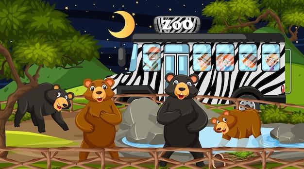 Safari à noite com muitas crianças assistindo a um grupo de ursos
