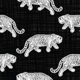 Safári de tigres na moda padrão sem emenda vetor desenhado à mão estilo legal na textura