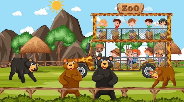 Safari durante o dia com muitas crianças observando o grupo de ursos