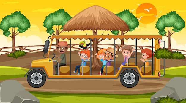 Safari na cena do pôr do sol com muitas crianças em um carrinho de golfe do zoológico