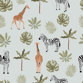 Safari sem costura padrão com amimal