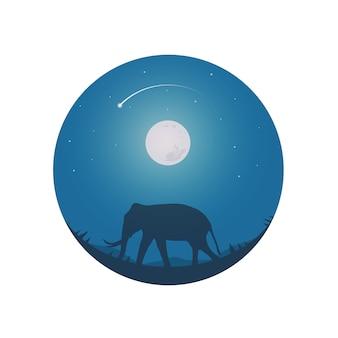 Safari tema elefantes lua cheia e céu noturno.