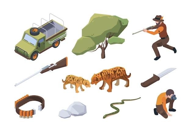 Safari turístico. caça selvagem africana para animais aventura tribal natur areia garish vector safari isométrico. ilustração safári selvagem, turismo de aventura na savana