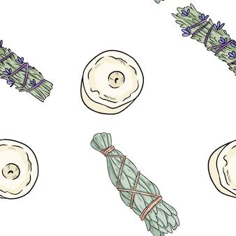 Sage mancha varas e velas desenhados à mão boho padrão sem emenda
