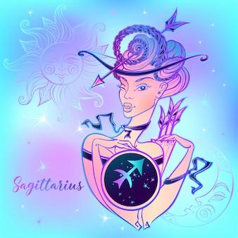 Sagitário do sinal do zodíaco uma menina bonita.