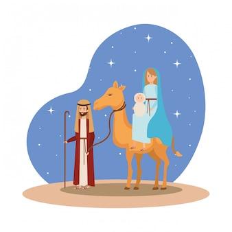 Sagrada família com personagens de manjedoura de camelo