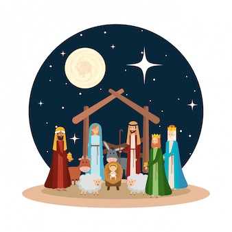 Sagrada família com sábios reis e animais