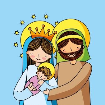 Sagrada família cristã cartoons